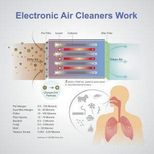 An air purifier is a device which removes contaminants from the air in a room. These devices are commonly marketed as being beneficial to allergy sufferers and asthmatics, and at reducing or eliminating second-hand tobacco smoke. Vector graphic.